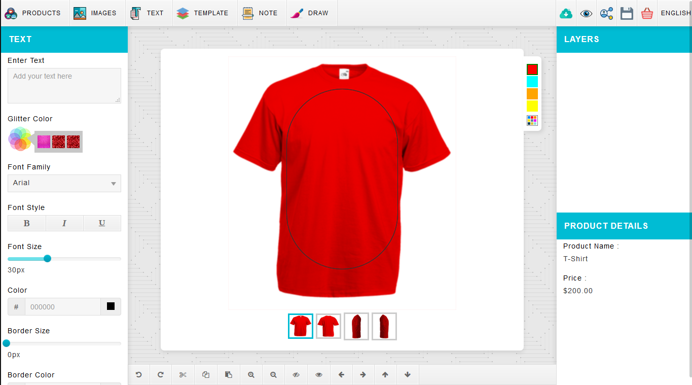 Web To Print Solution For Personalized Product Webprint Solution - T shirt design size template