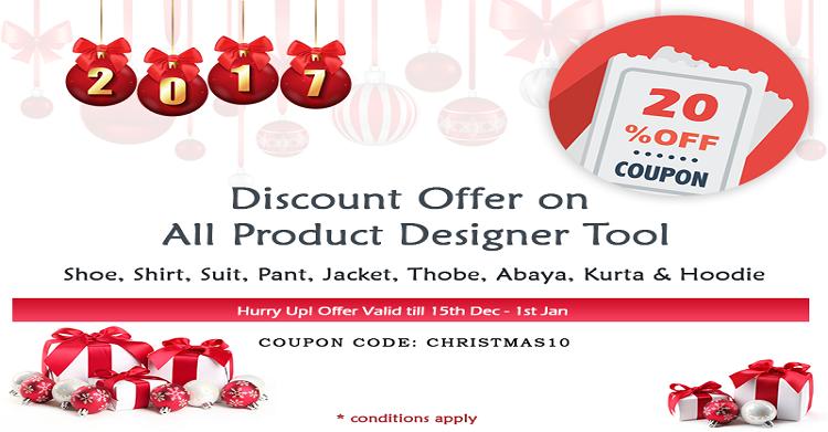 Hurray!! It's X-mas & We Are Offering Discount on All Custom Product Design Tool